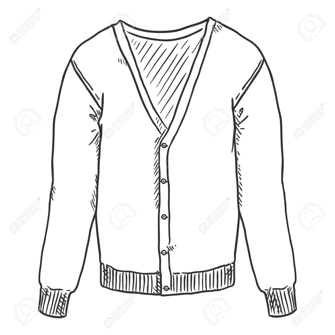 Vector Hand Drawn Sketch Cardigan Isolated Illustration - 169663667