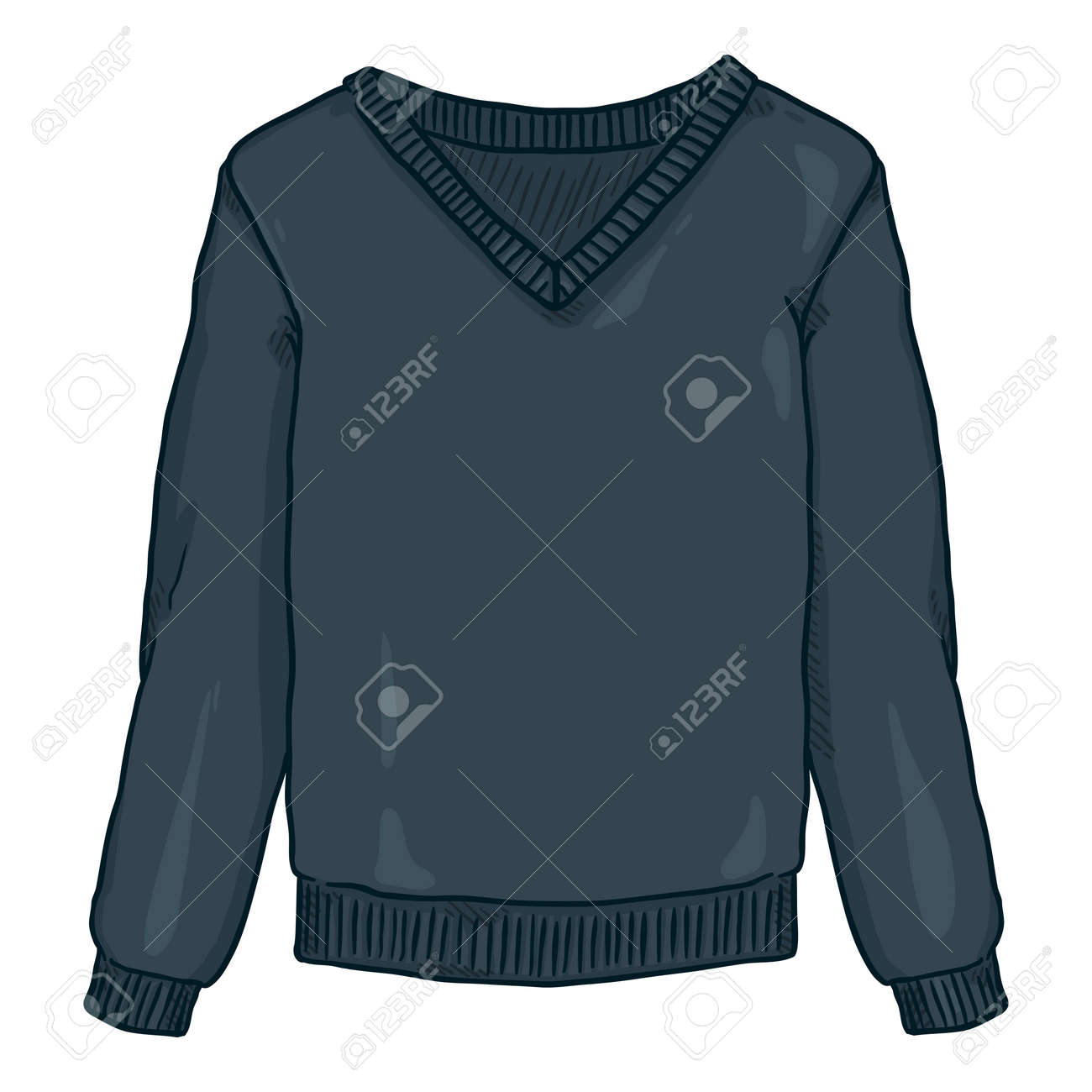 Vector Cartoon Blue Pullover on White Background - 169663668
