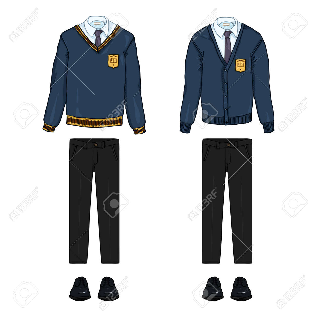 Vector Cartoon Set of School Uniform Clothes. Blue Cardigan and Pullover, Black Trousers and Shoes. - 169663675