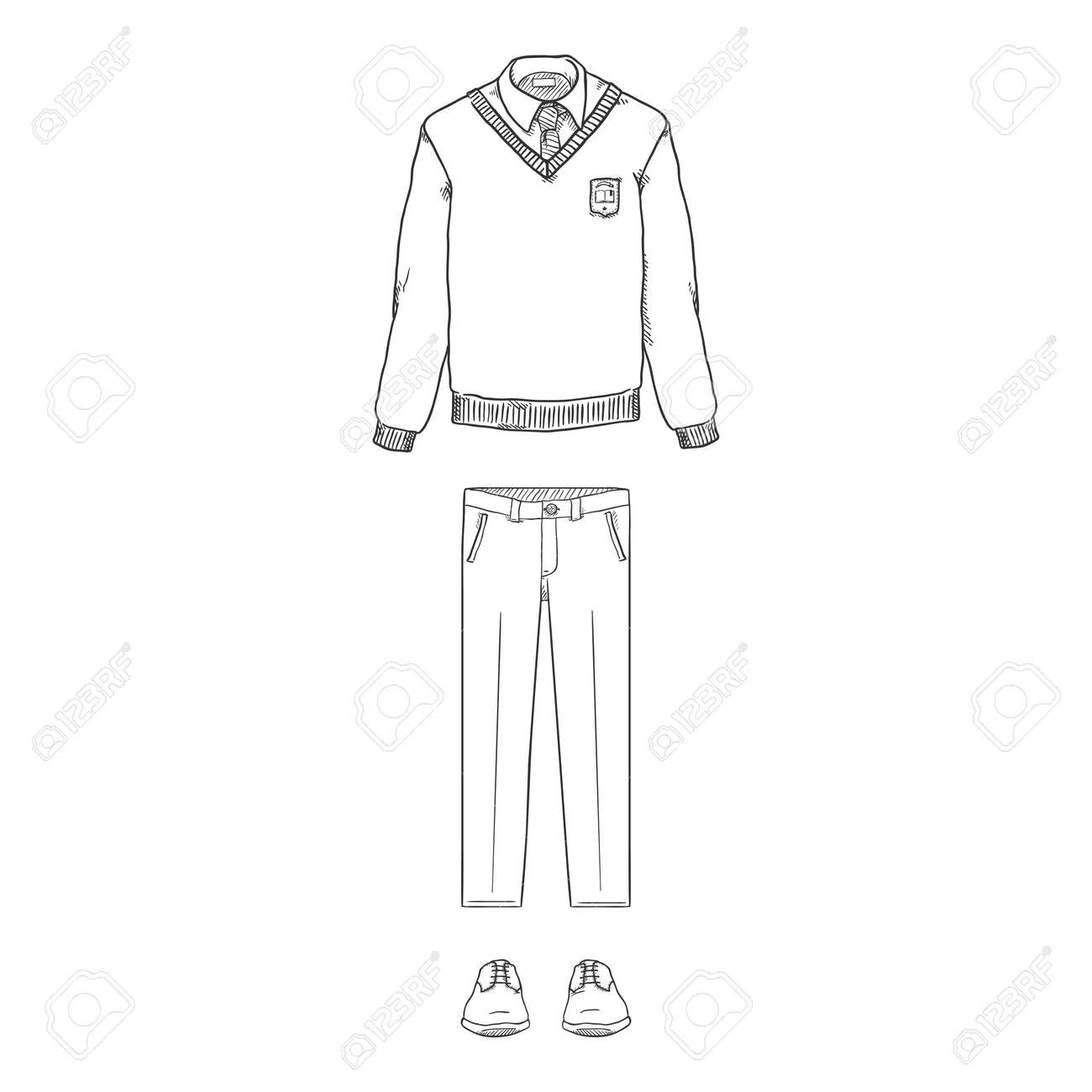 Vector Sketch Set of School Uniform Clothes. Pullover, Trousers and Shoes. - 169663680