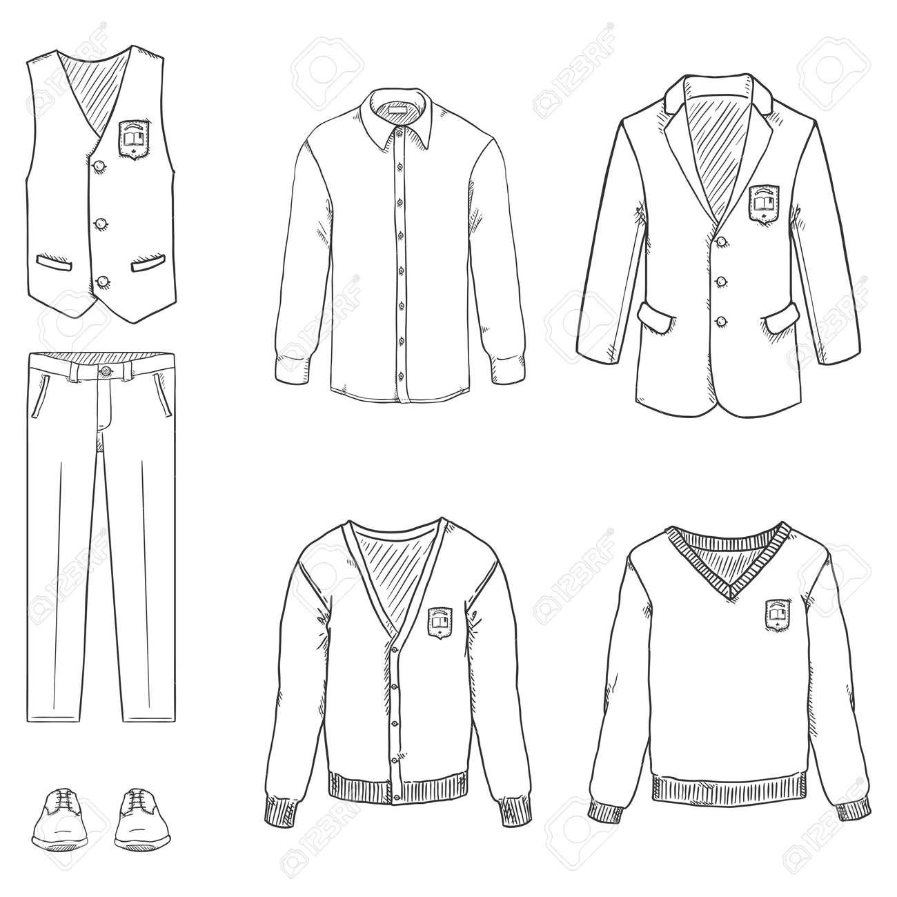 Vector Hand Drawn Sketch Set of School Uniform Clothes. - 169663681