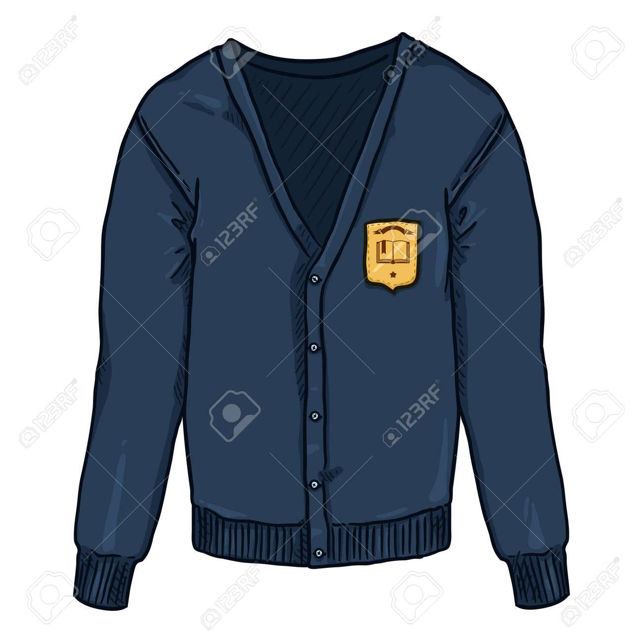 Blue Cardigan with School Badge. Vector Cartoon School Uniform Illustration. - 169663683
