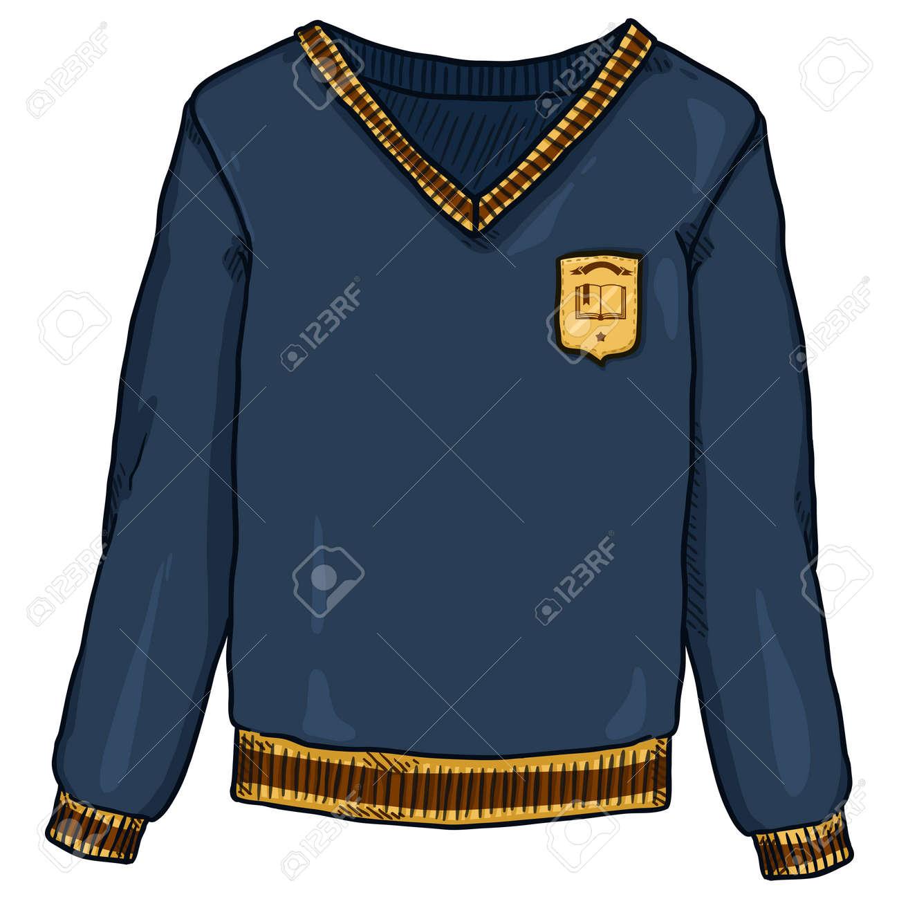 Blue Pullover with School Badge. Vector Cartoon School Uniform Illustration. - 169663684