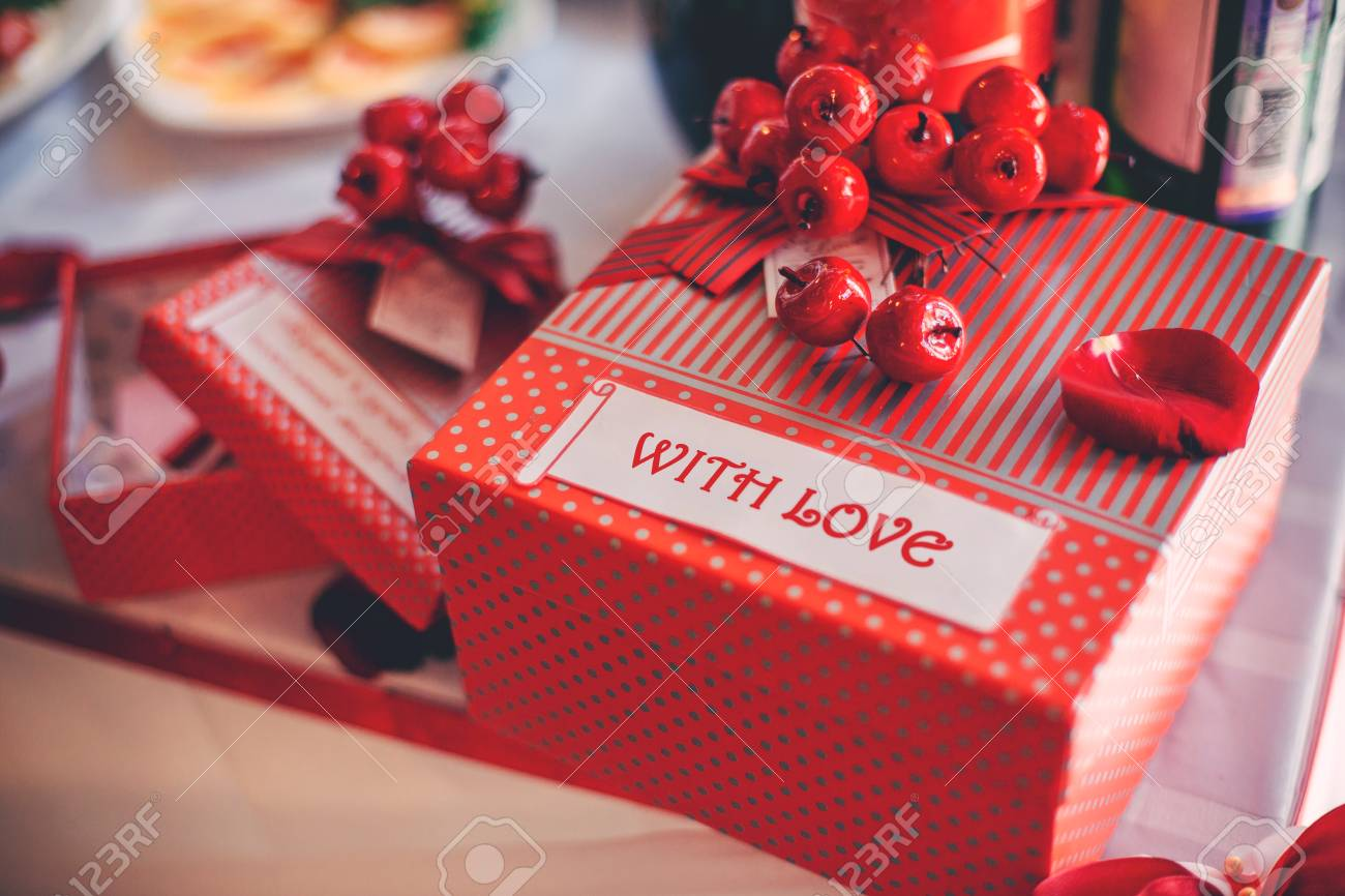 Red Gift Box, Beautiful Wedding Decor. Stock Photo, Picture And ...