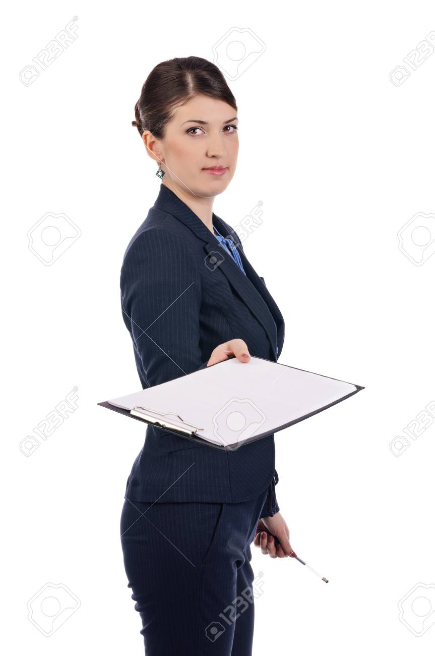 A young businesswoman with a clipboard Stock Photo - 17005627