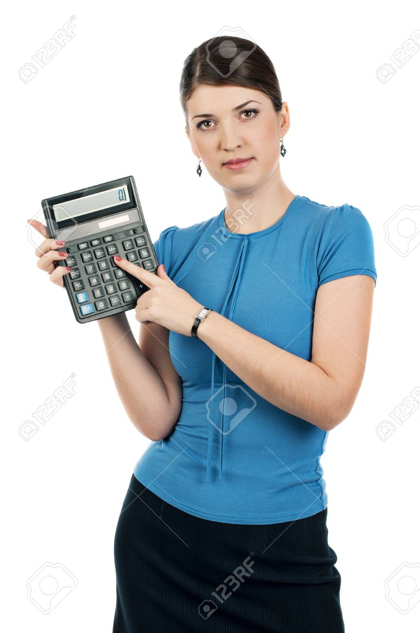 Businesswoman with a calculator Stock Photo - 17015971