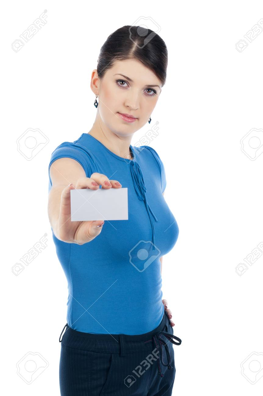 Businesswoman with a businesscard Stock Photo - 17016131