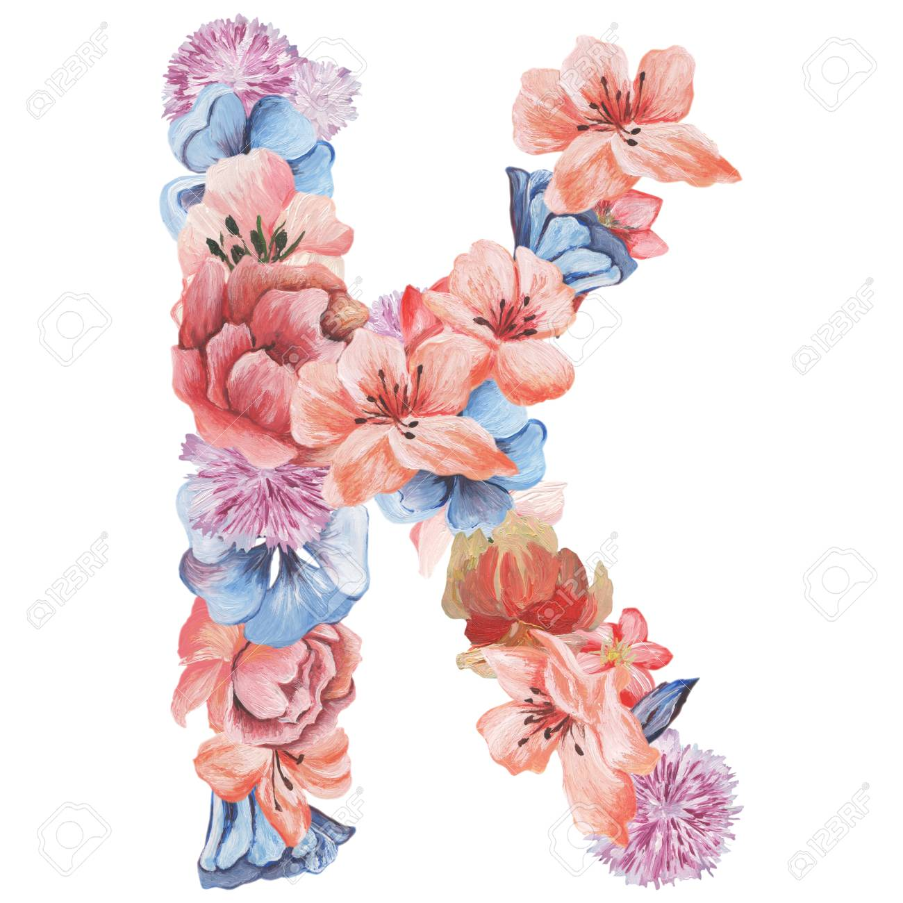 letter k of watercolor flowers isolated hand drawn on a white background wedding design