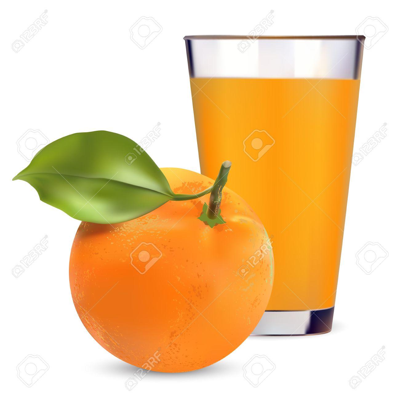 oranges and orange juice on white background - 13739225