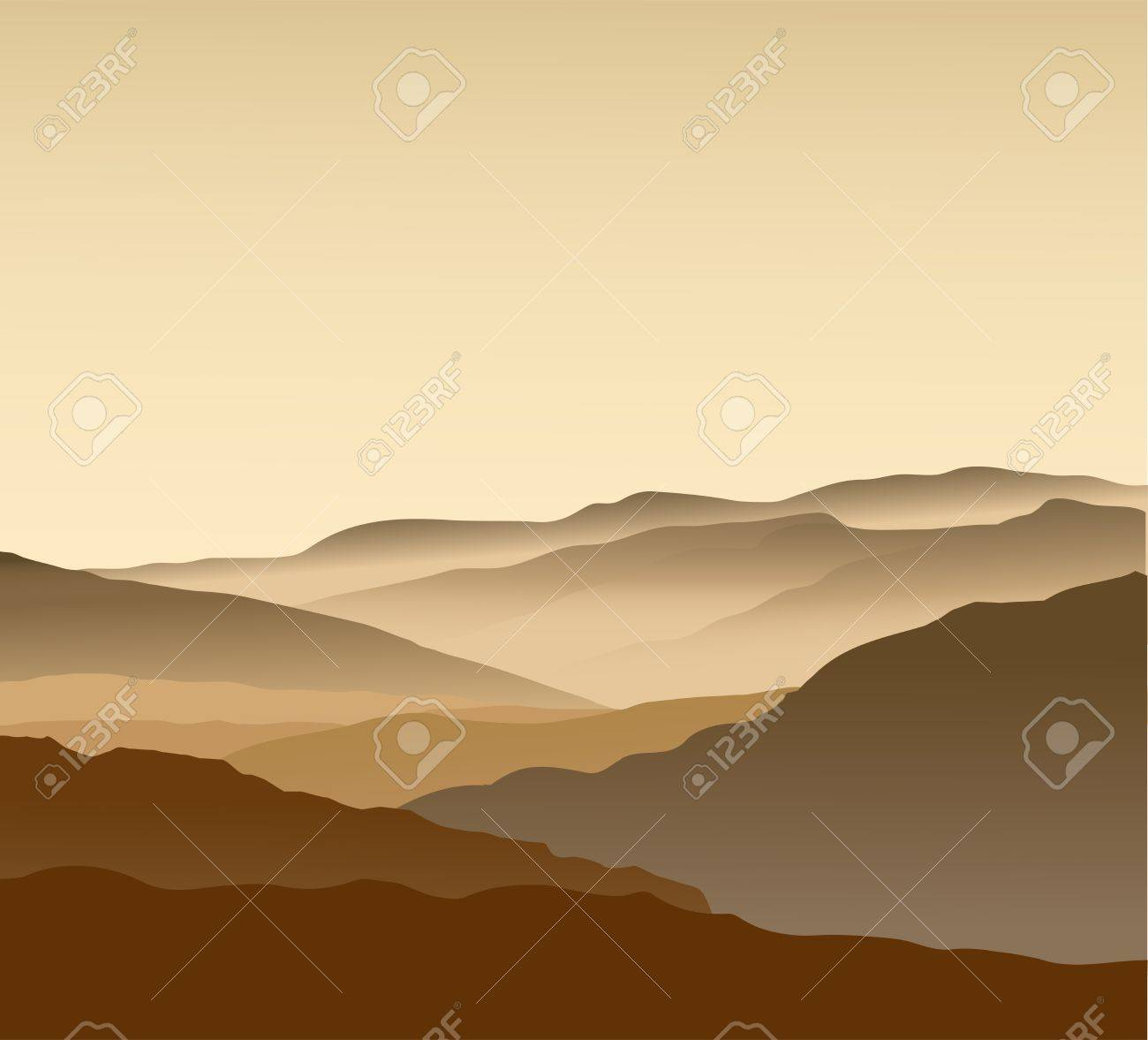 Beige mountains in a fog. Seamless Stock Vector - 13738852