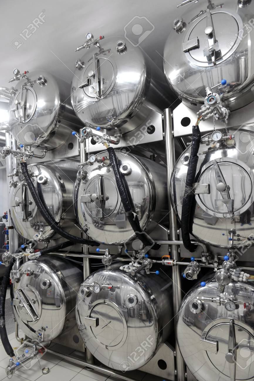 Row of tanks in microbrewery Stock Photo - 27489254