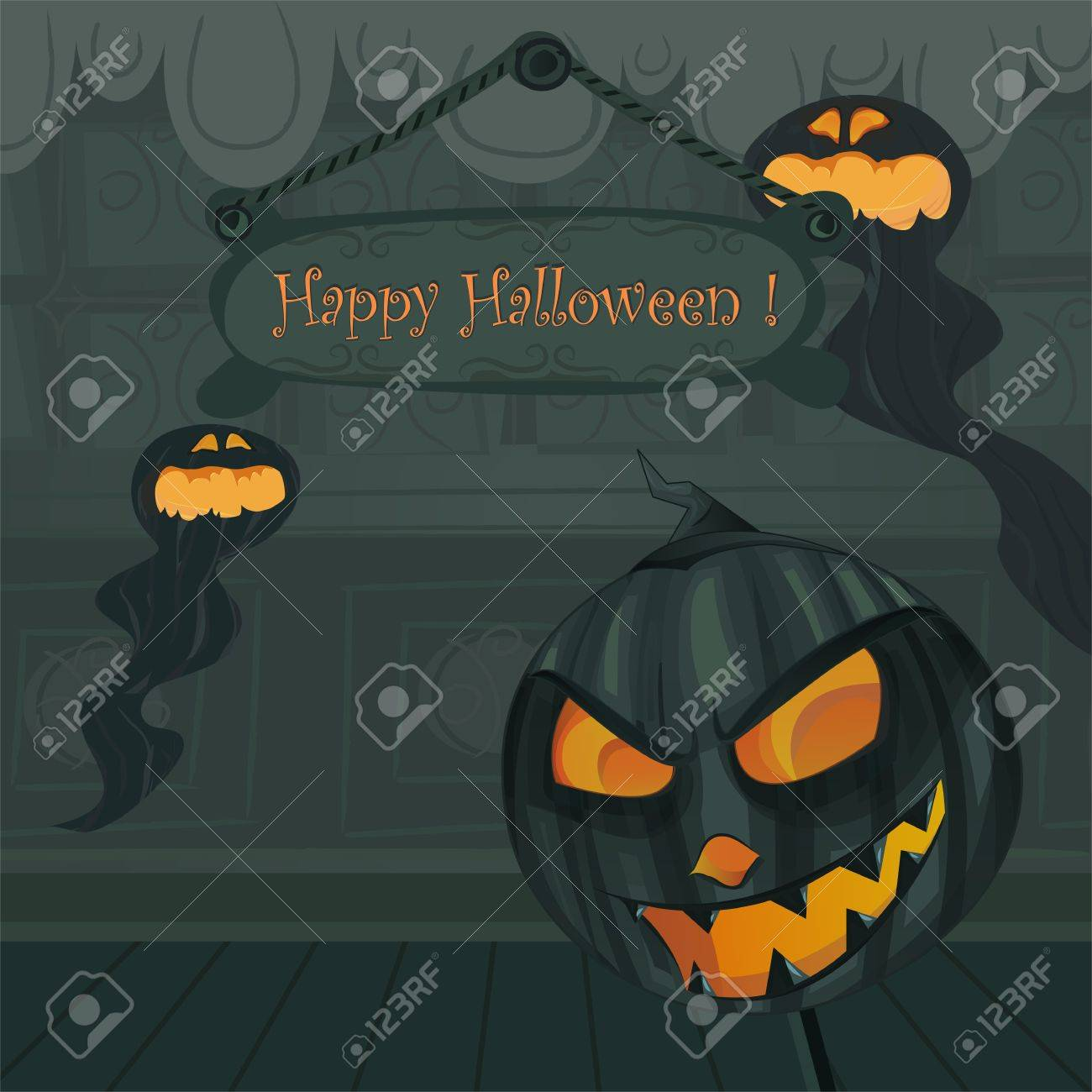 Vector Halloween Template. Background Inside Haunted House With ...
