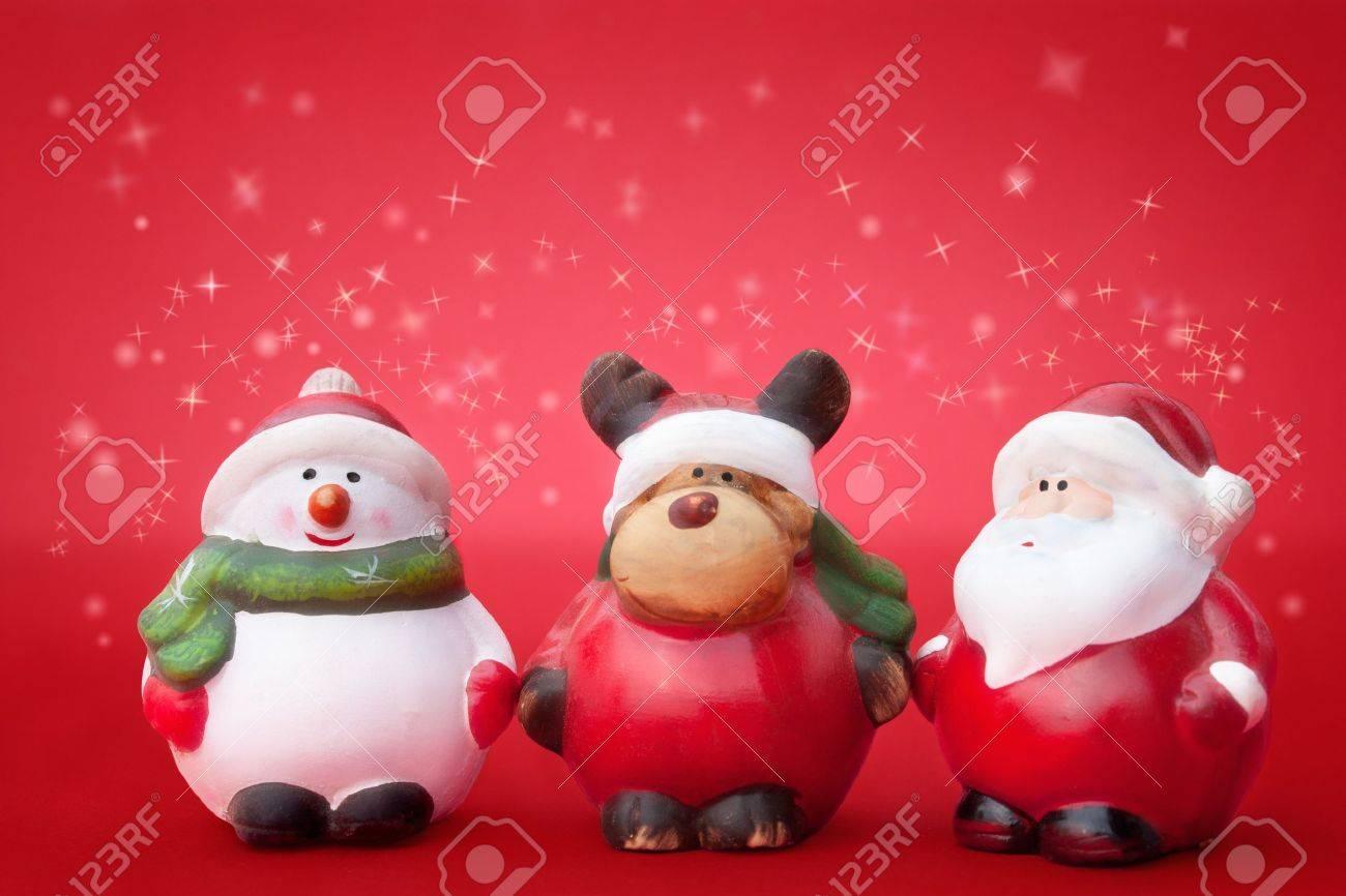 Santa, Rudolph and Snowman Christmas ornaments Stock Photo - 10636504