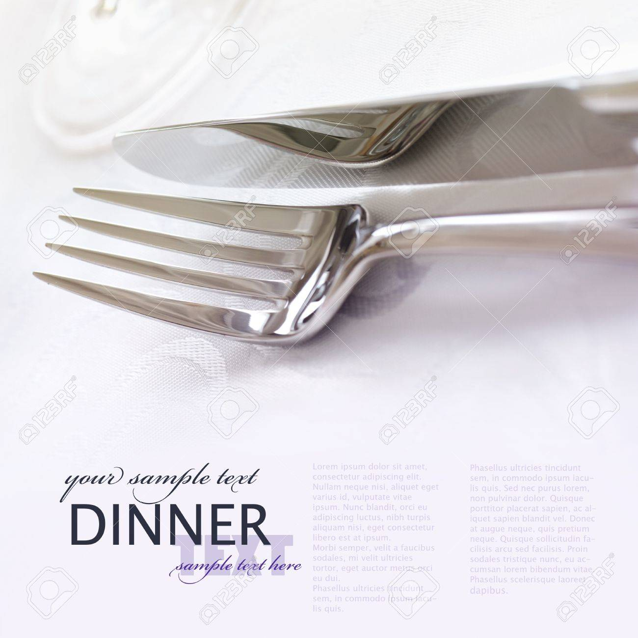 Elegant dinner table setting - Fork And Knife In Elegant Table Setting Stock Photo 10682638