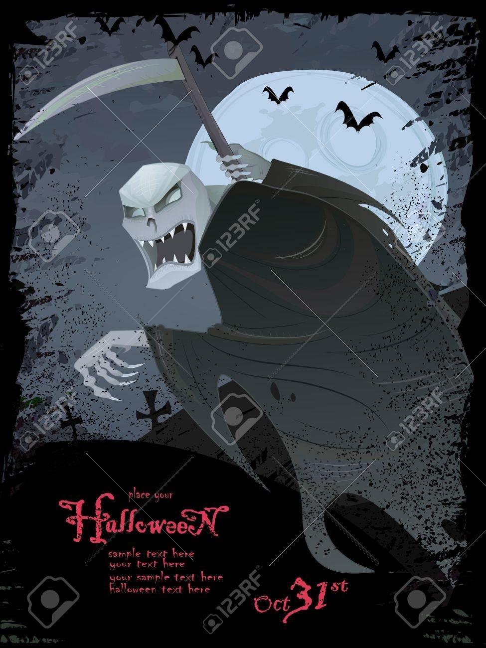Halloween series.Halloween grunge template with scary grim reaper, bats, graveyard, bugs Stock Photo - 10842902