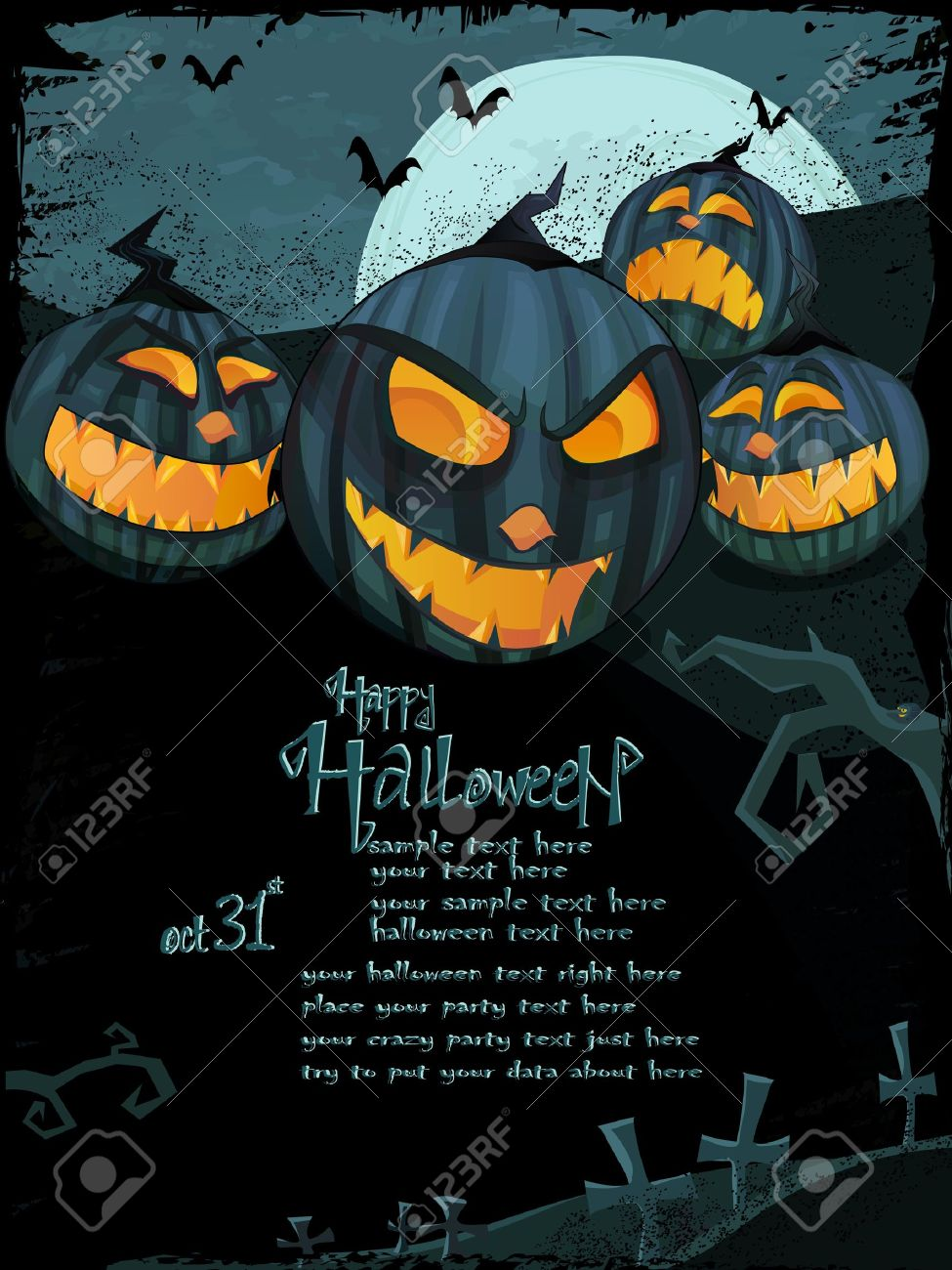 Halloween Template With Night Landscape, Evil Pumpkins, Spooky Tree,  Graveyard With Glowing Moon