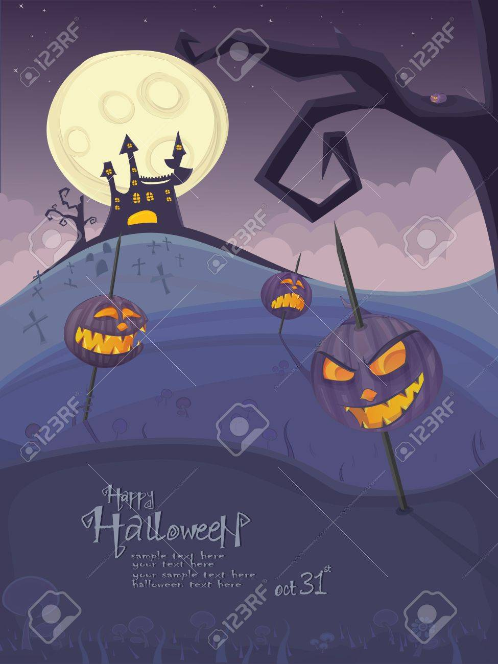 Halloween template with night landscape, evil pumpkins, spooky tree, graveyard and haunted house with glowing moon and clouds in the back. Stock Vector - 10906927