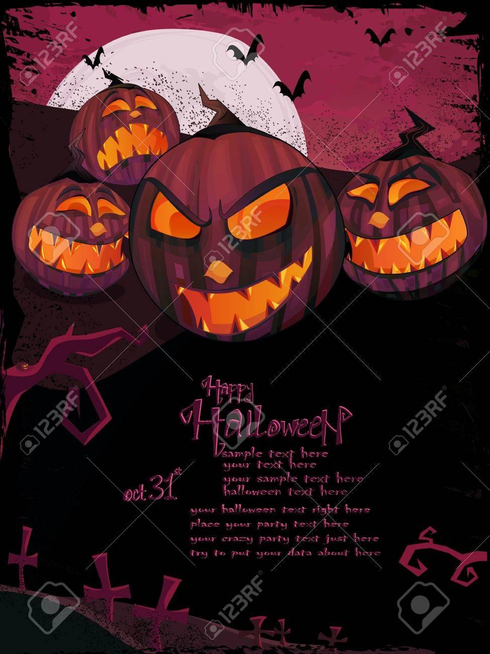 Halloween-Vorlage Mit Nacht-Landschaft, Böse Kürbisse, Gruselige ...