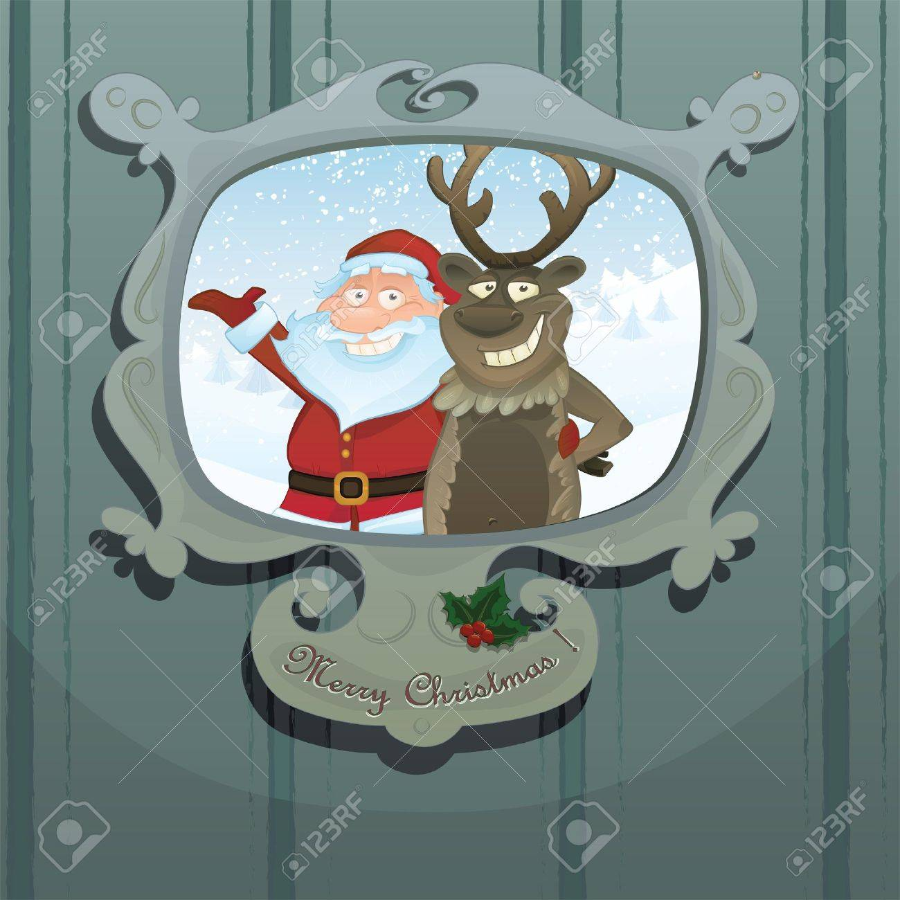 Christmas series. Funny Santa Claus and Rudolph reindeer in a picture frame Stock Vector - 11157262