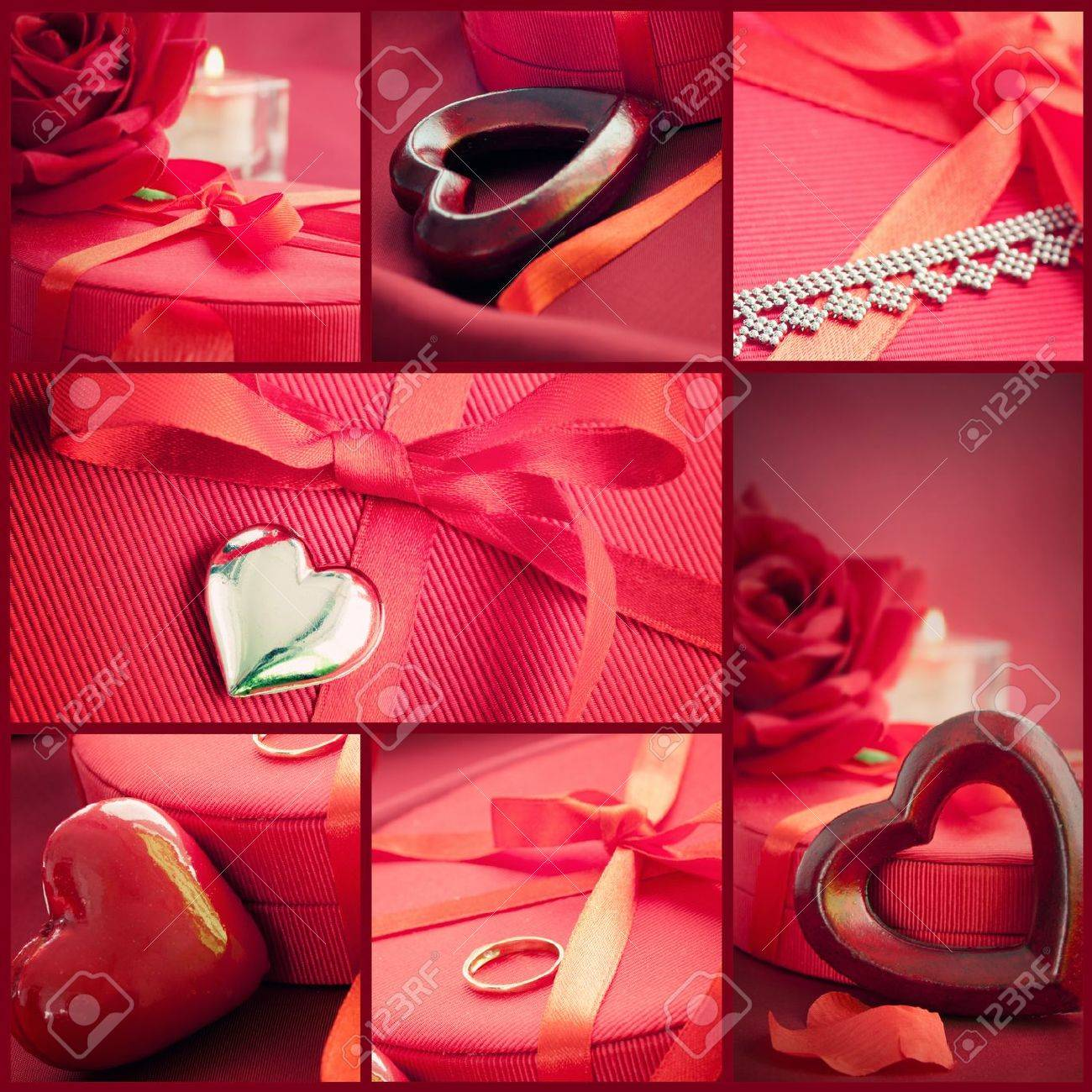 Valentines series collage of fancy valentines symbols holiday collage of fancy valentines symbols holiday luxury table setting with beautiful red buycottarizona