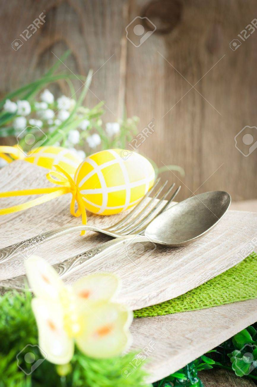 Easter place setting. Fork and knife in rustic country table setting & Restaurant Menu Series. Easter Place Setting. Fork And Knife.. Stock ...