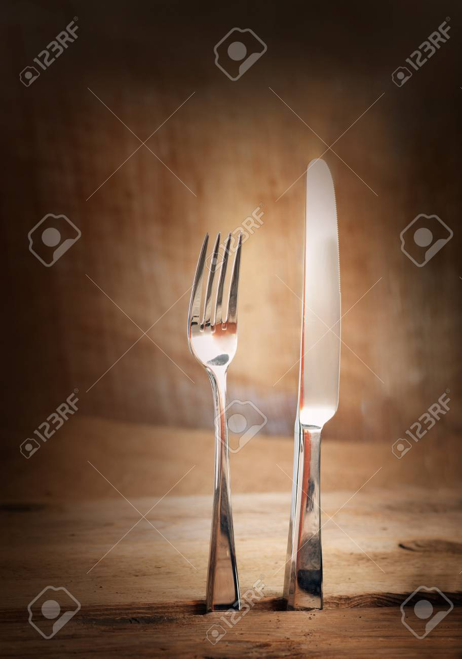 Restaurant menu series  Country place setting  Fork and knife in rustic country table setting Stock Photo - 12440853