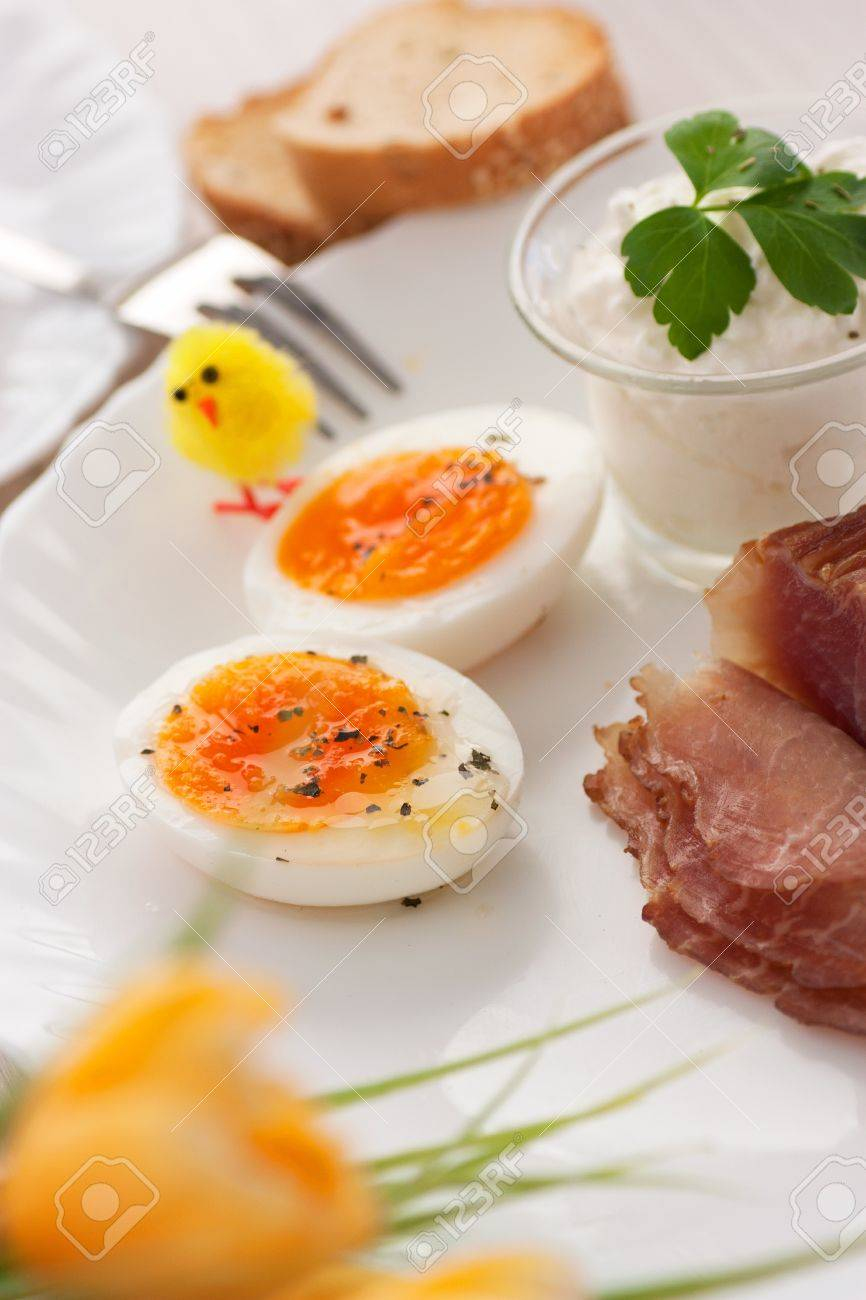 Table Setting For Breakfast Traditional Easter Breakfast Table Setting With Boiled Eggs