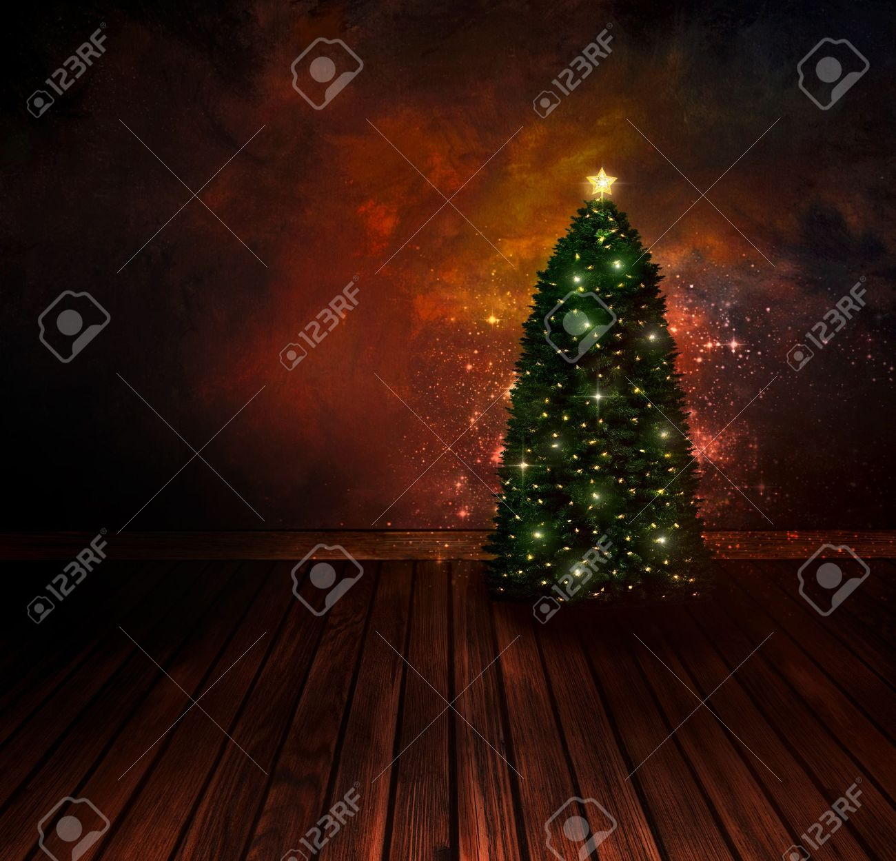 Chritmas design - Night Christmas tree. Background with Glitter Xmas tree in room with art abstract painting. Vintage holiday card with copyspace. Stock Photo - 15618006