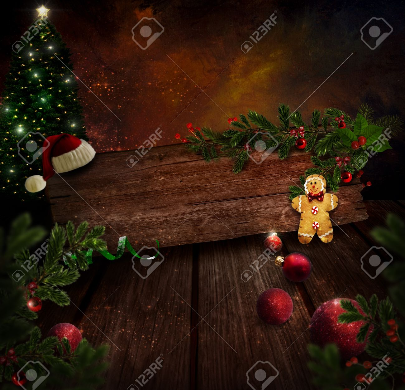 Chritmas design - Night Christmas tree. Background with Glitter Xmas tree in room with art abstract painting. Gingerbread man, Christmas ornaments and Holly. Vintage holiday card with copyspace. Stock Photo - 16061953