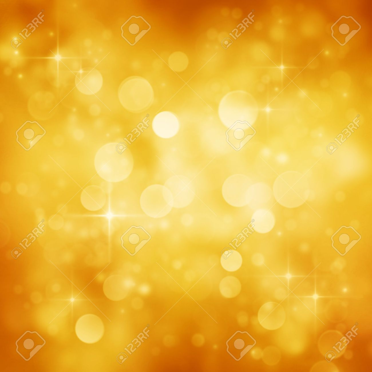 Gold Festive Christmas background  Elegant abstract background with bokeh defocused lights and stars Stock Photo - 16278612