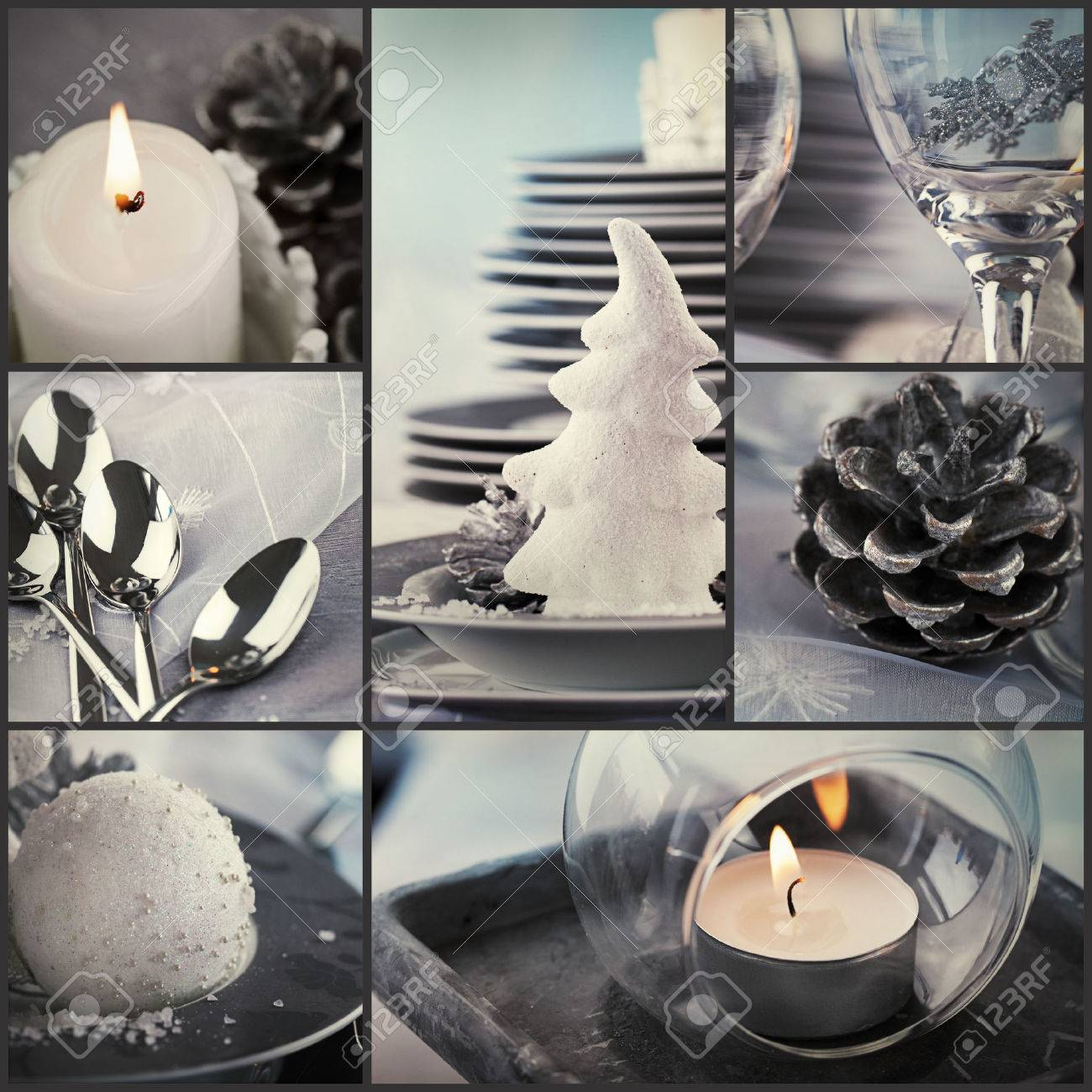 Fancy restaurant table setting - Restaurant Series Collage Of Fancy Christmas Dinner Holiday Luxury Table Setting Fancy Dining