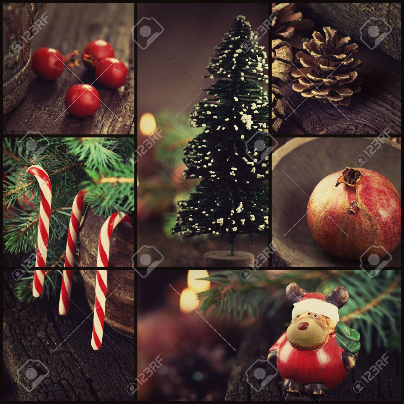 Christmas Series Collage Of Rustic Xmas Ornaments And Decoration