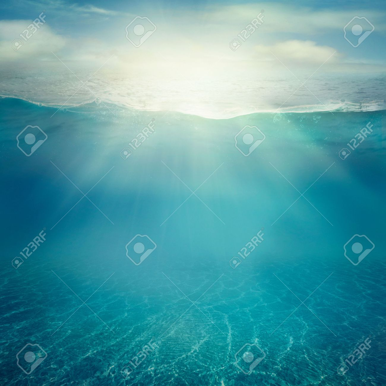 Ocean Water Background summer background. underwater sea view. ocean water surface. stock