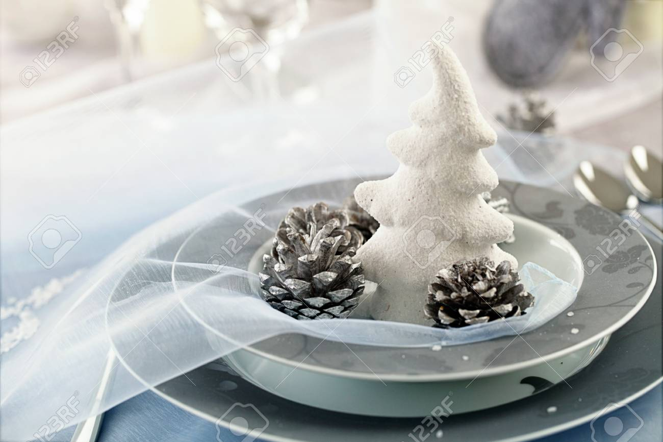 Restaurant Place Setting In Elegant Holiday Style With Xmas Ornaments