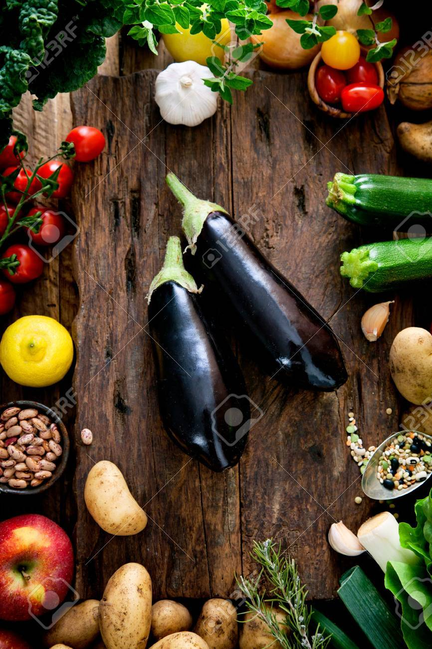 Vegetables on wood. Bio Healthy food, herbs and spices. Organic vegetables on wood - 42140271