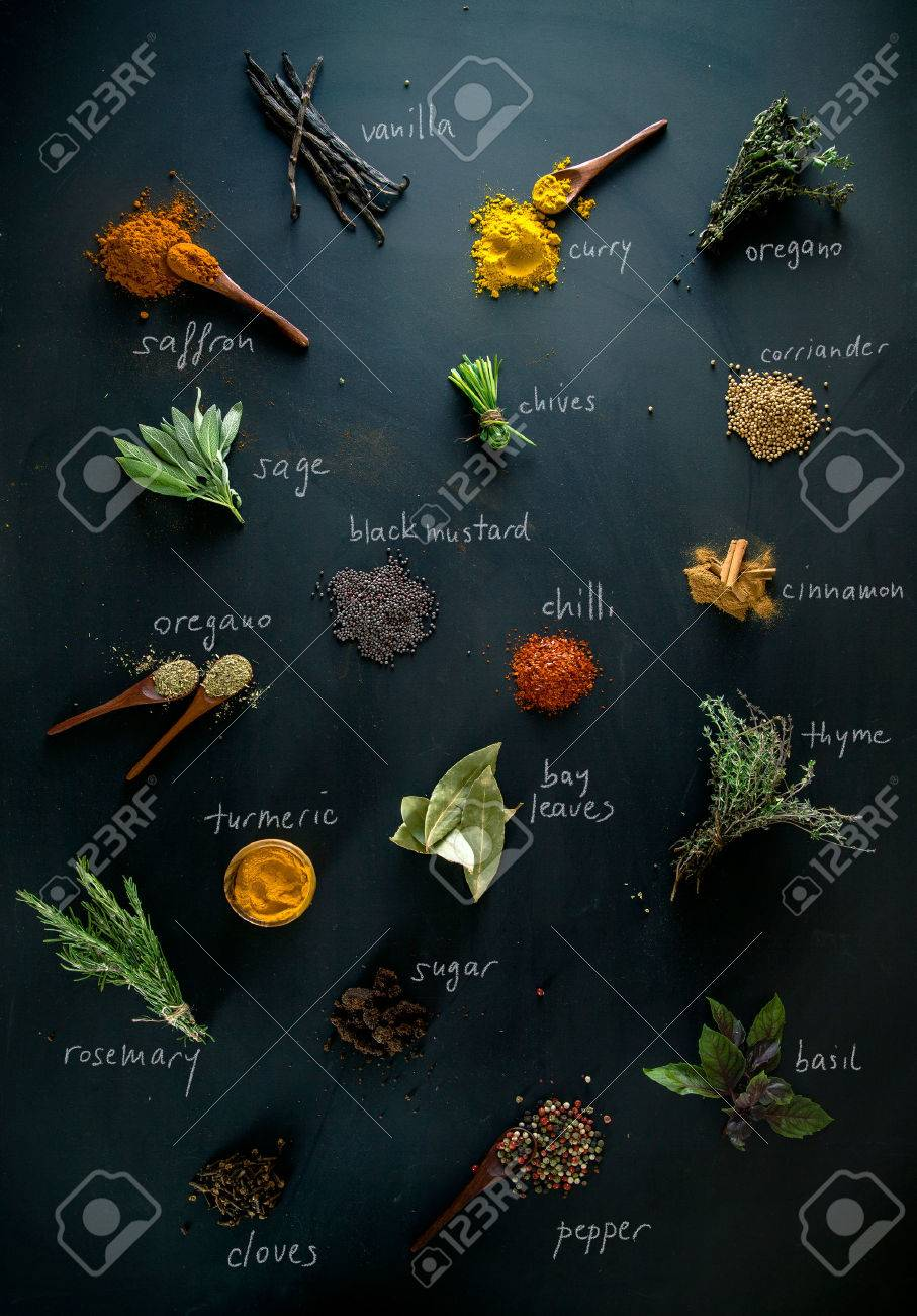 Spices and herbs. Variety of spices and mediterranean herbs. Spices with names - 44693406