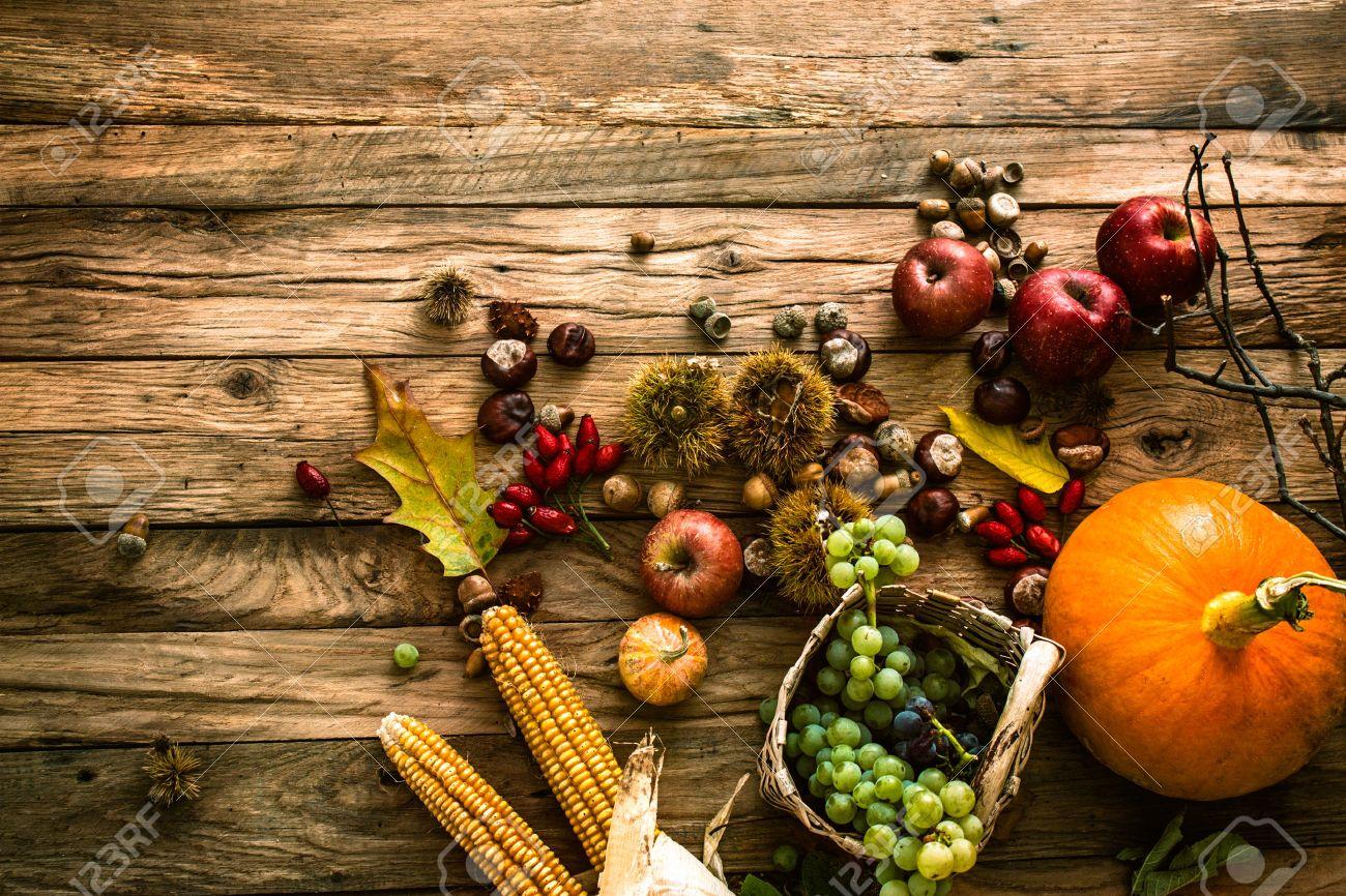 Autumn fruit background. Autumn Thanksgiving seasonal fruit. Nature background - 44891096