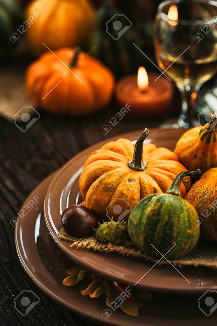 Autumn table setting with pumpkins. Thanksgiving dinner and autumn decoration. - 46774905
