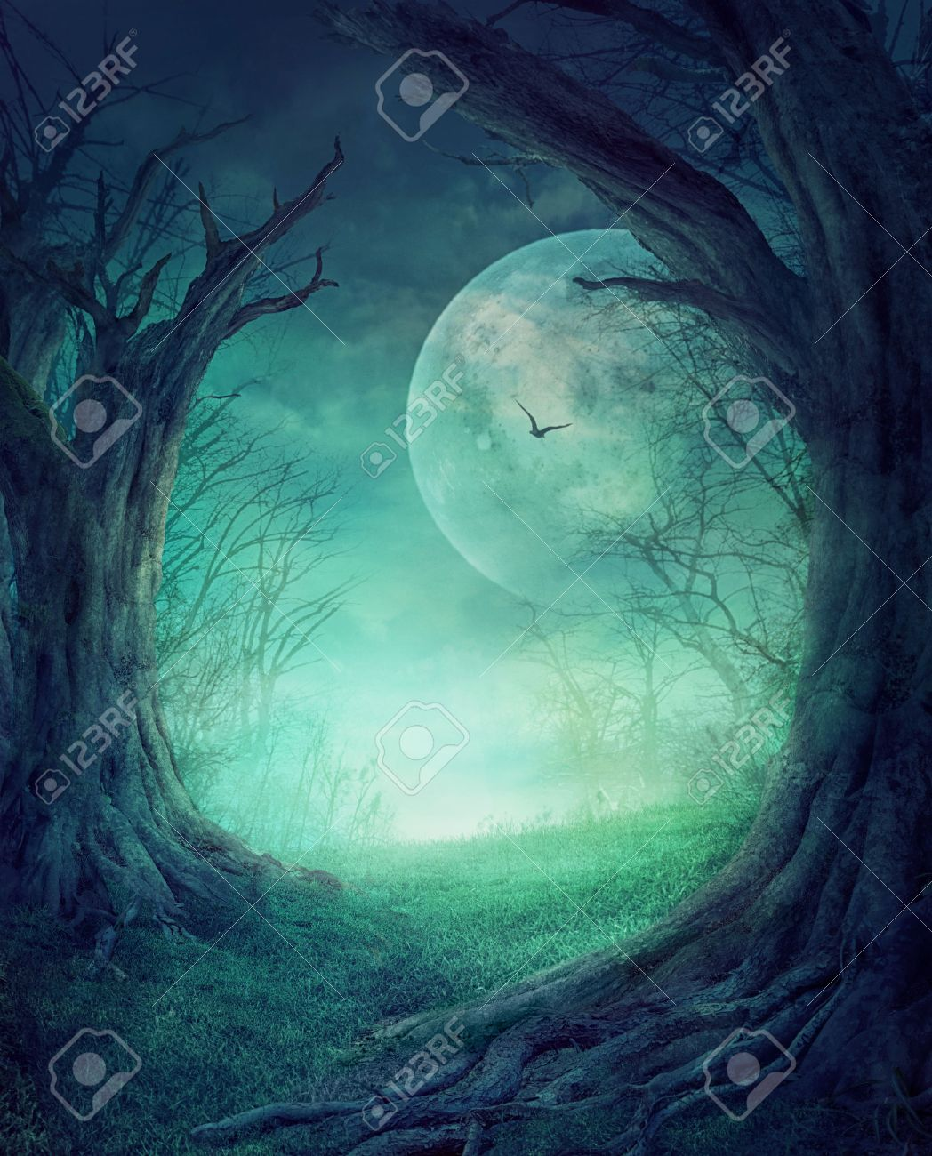 Halloween design - Spooky tree. Horror background with autumn valley with woods, spooky tree and full moon. Space for your Halloween holiday text. - 46775025
