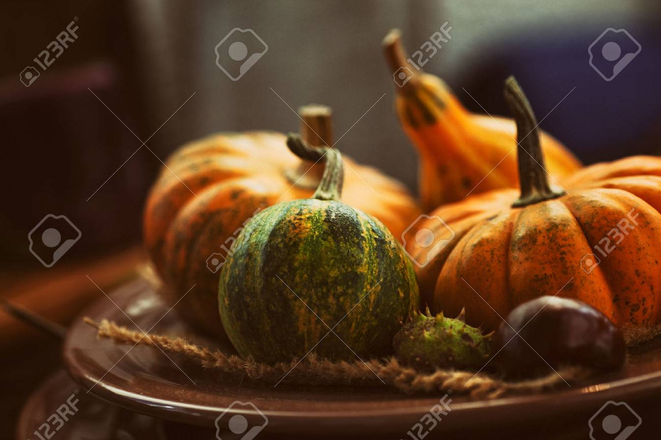 Autumn table setting with pumpkins. Thanksgiving dinner and autumn decoration. - 46775021