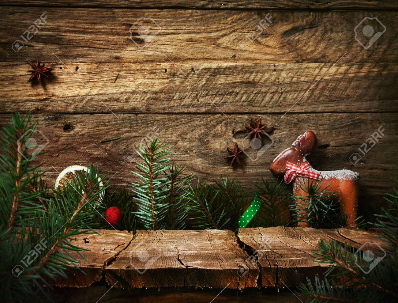 Christmas holiday background with empty wooden deck table over Christmas ornaments. Ready for product montage. Rustic vintage Xmas background. - 47308371