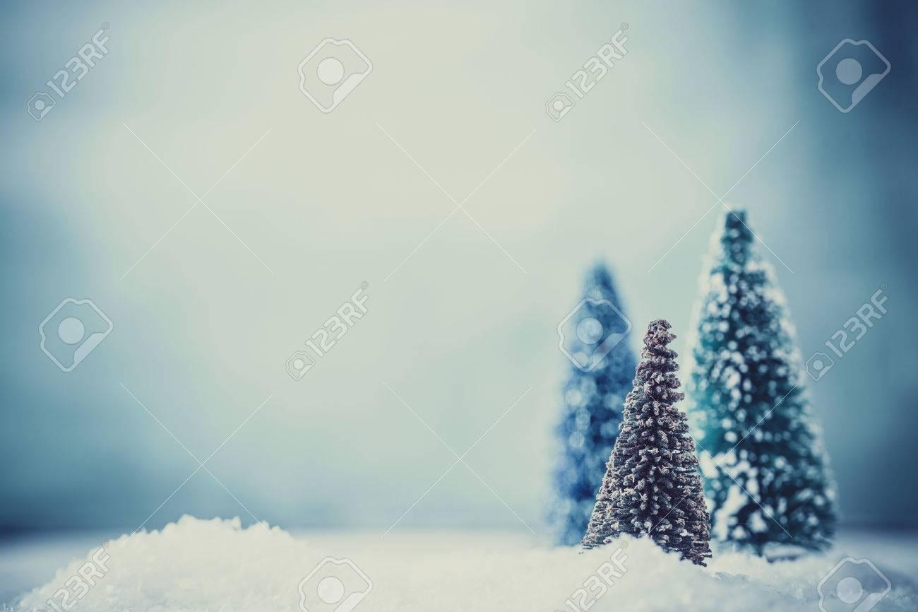 Christmas background. Xmas fir tree on snow. Greeting card - 47692927