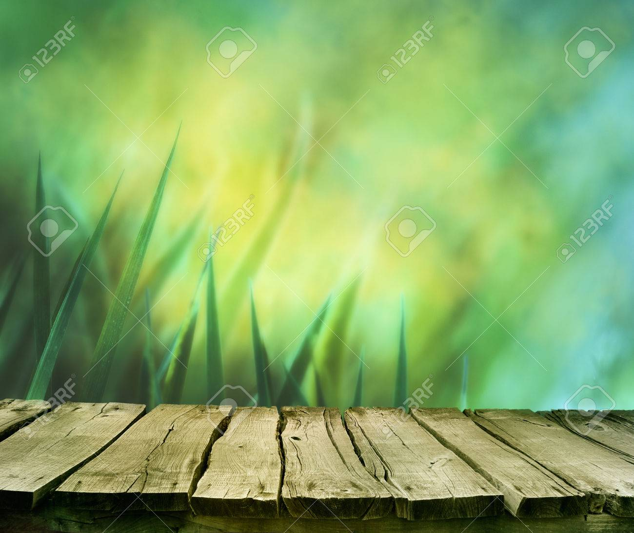 Spring background. Spring grass. Blur background. Summer nature. Bokeh blurred background.Wooden table. Wood planksGrass with copyspace. Floral background .Nature bokeh - 74163747