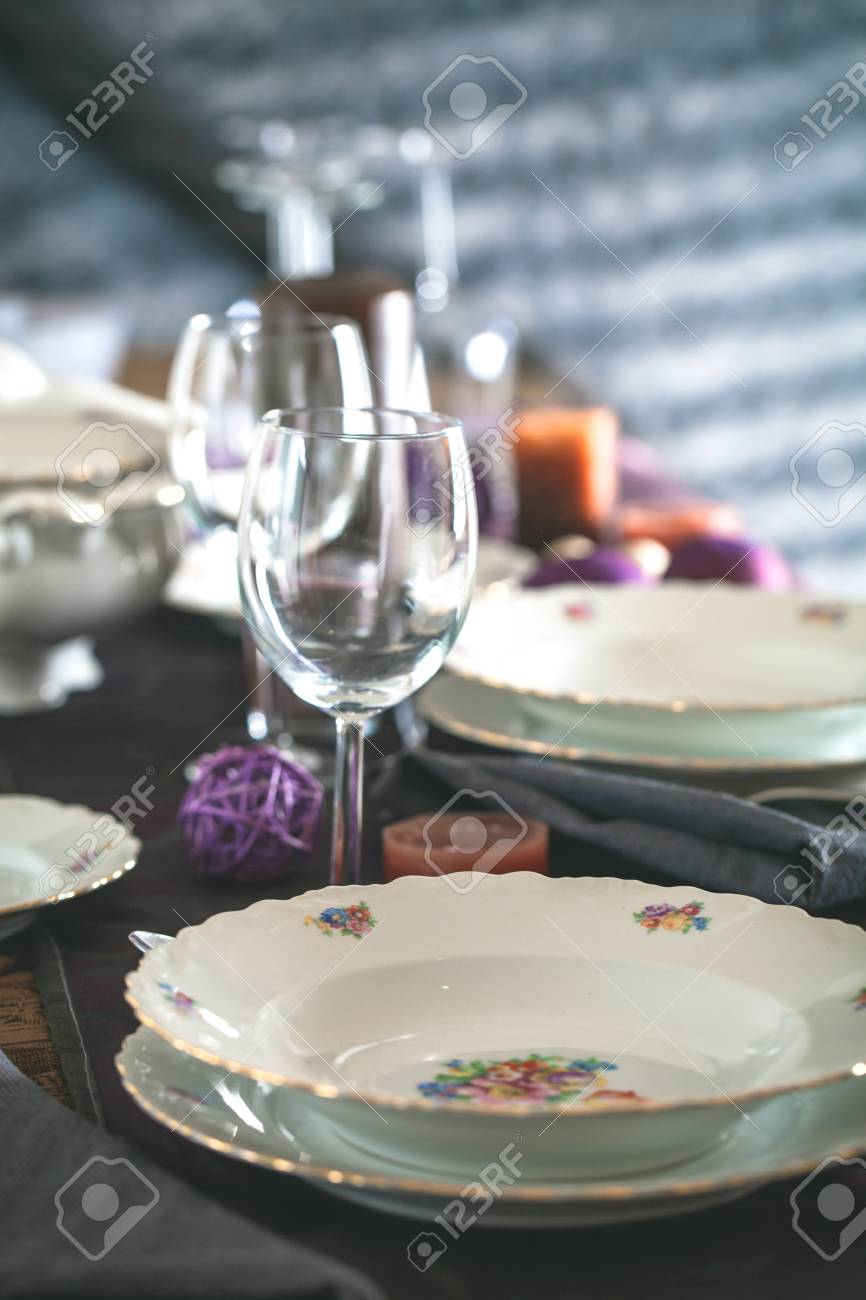 Table Setting For Dinner Elegant Place Setting For Restaurant Stock Photo Picture And Royalty Free Image Image 89194898