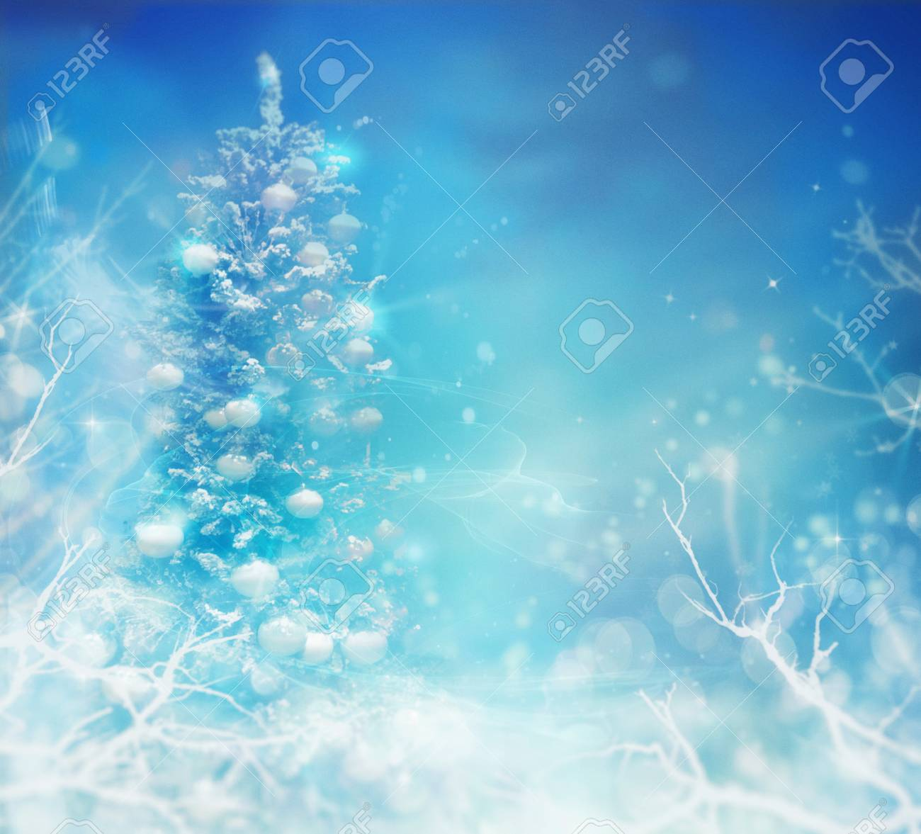 Frozen Christmas.Winter Frozen Background Winter Christmas Concept With Tree