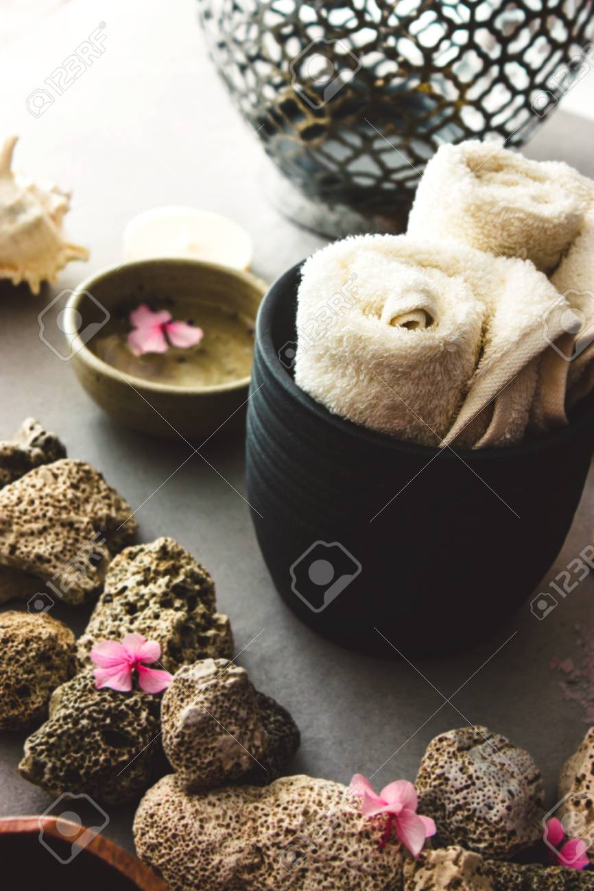Spa products with towel snf facialtonic, Dayspa cosmetics products