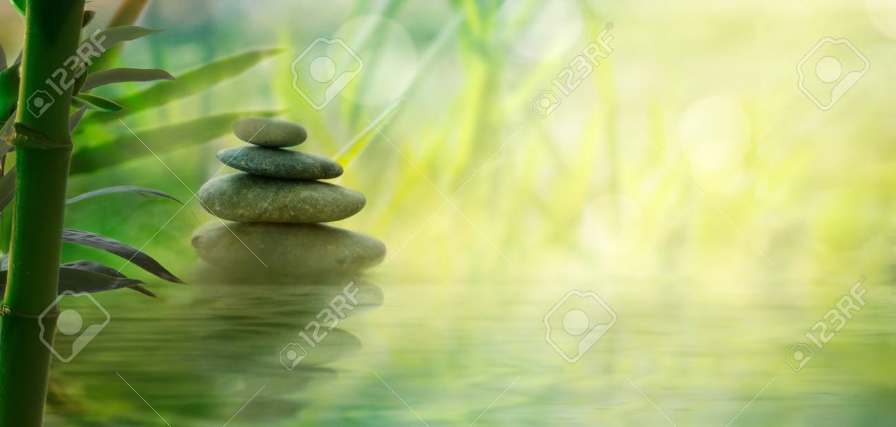 Spa and wellness. Natural massage stones with bamboo. Spa oriental background - 120482207