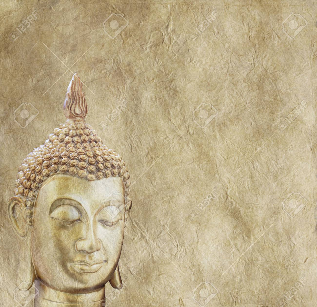 Budhha on Parchment Background Poster Stock Photo - 29022509