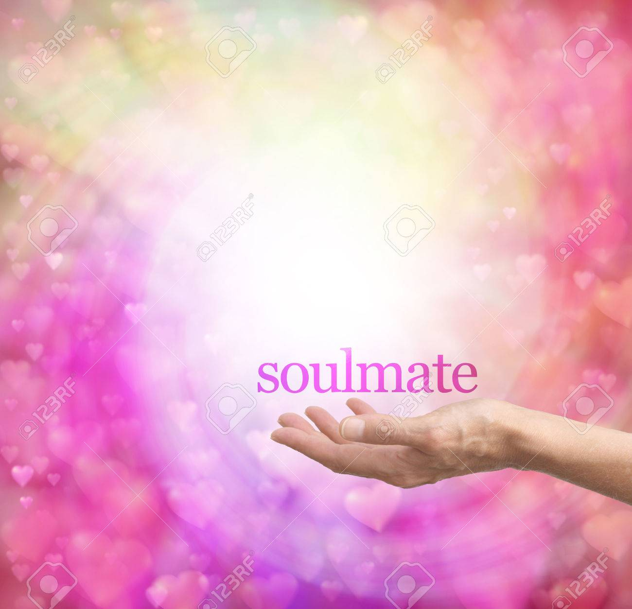 Seeking A Soulmate - Female Hand Palm Up With The Word Soulmate ...
