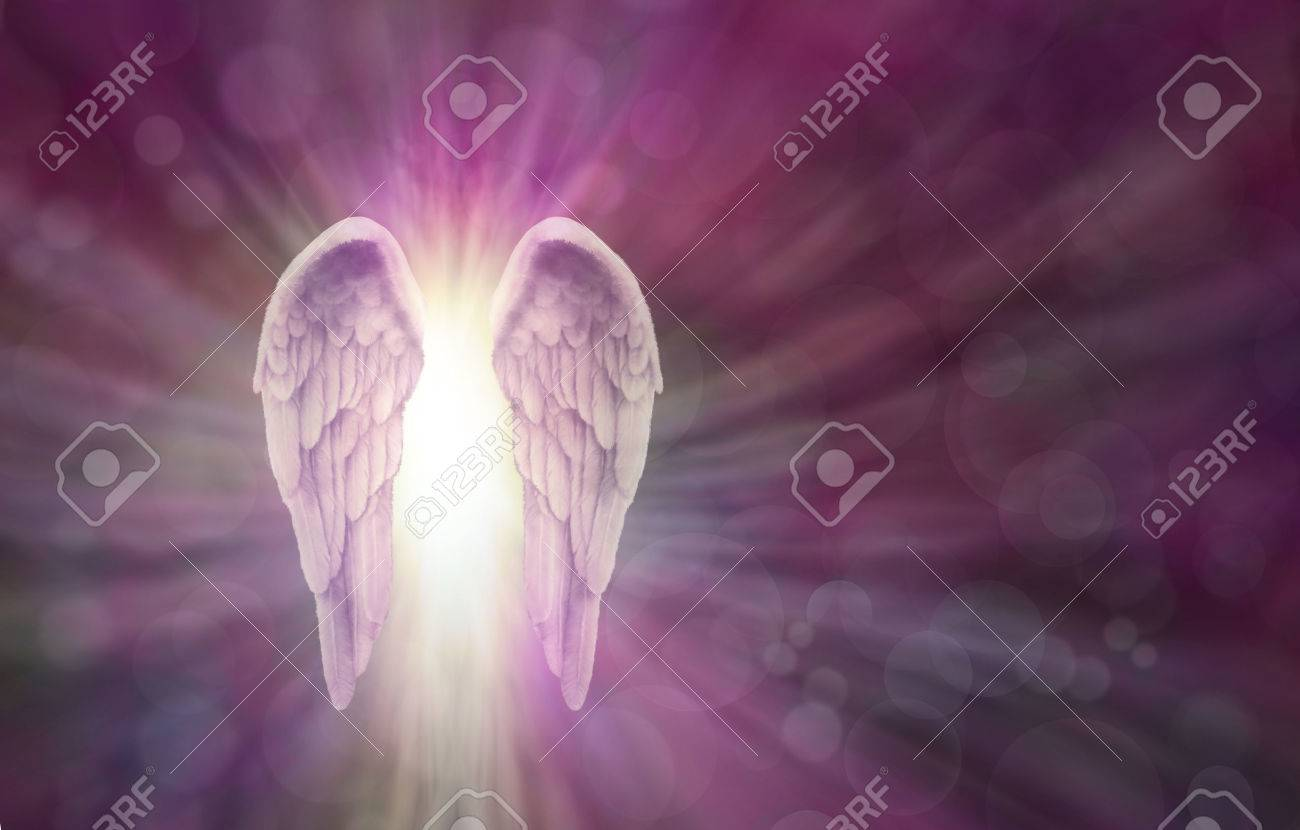 Angel Wings on Magenta Bokeh Banner - Wide magenta bokeh background with a pair of Angel Wings on the left side and a shaft of bright light between radiating outwards and copy space all around - 56020163